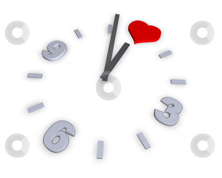 Heart stock photo, Clock with heart symbol - 3d illustration by J?