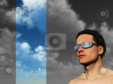 Face stock photo, Portrait of man with sun glasses - 3d illustration by J?