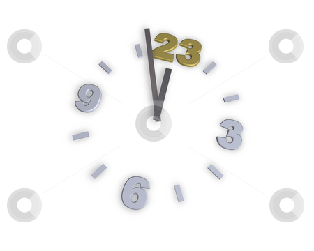 Number 23 stock photo, Clock with number 23 - 3d illustration by J?