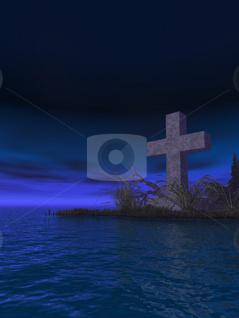 Christian cross stock photo, Stone cross in water landscape at night - 3d illustration by J?