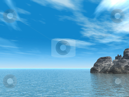 Rocks stock photo, Water landscape with rocks - 3d illustration by J?