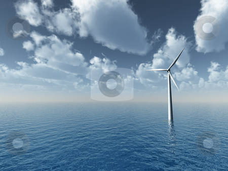Wind generator stock photo, Wind generator at the ocean- 3d illustration by J?