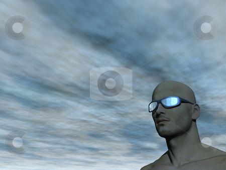 Sun glasses stock photo, Surreal man portrait with sun glasses - 3d illustration by J?