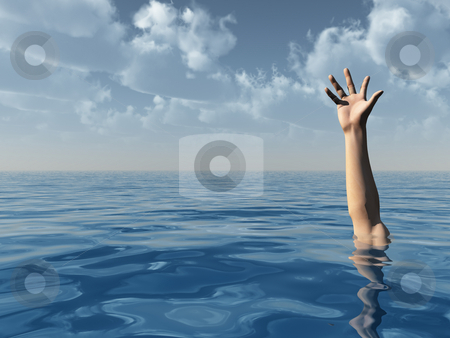 Help stock photo, Arm on water landscape and blue cloudy sky - 3d illustration by J?