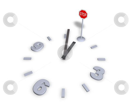 Stop stock photo, Clock with stop sign - 3d illustration by J?