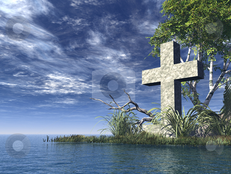 Christian cross stock photo, stone cross at water landscape - 3d illustration by J?