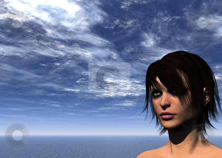 View stock photo, Portrait of woman in water landscape - 3d illustration by J?