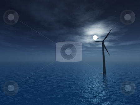 Windmill stock photo, Wind generator at night - 3d illustartion by J?