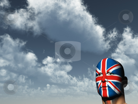 Union jack stock photo, Man face painted with union jack - 3d illustration by J?
