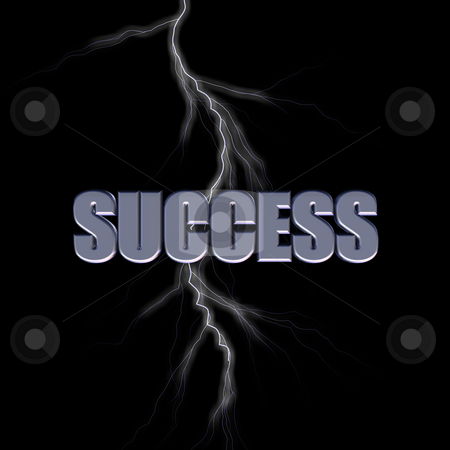 Success stock photo, Success 3d letters and lightning on black background by J?