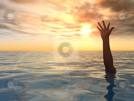 Help stock photo, Arm on water landscape against sunset - 3d illustration by J?