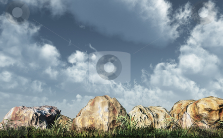 Rocks stock photo, Stones, grass and cloudy sky - 3d illustration by J?