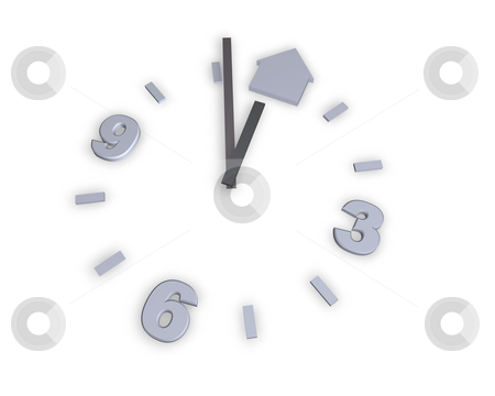Home stock photo, Clock and house symbol on white background - 3d illustration by J?