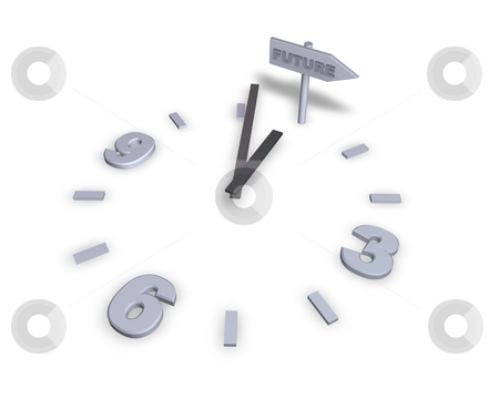 Future stock photo, Clock and sign to future - 3d illustration by J?