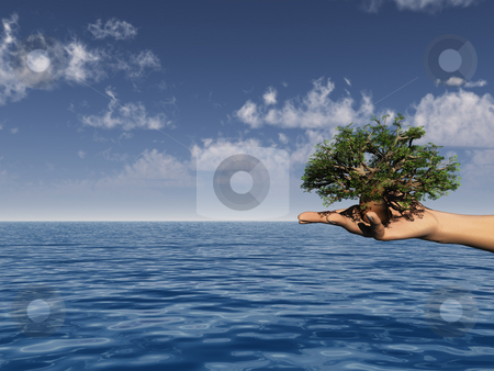 Tree stock photo, Tree in a human hand over the ocean - 3d illustration by J?