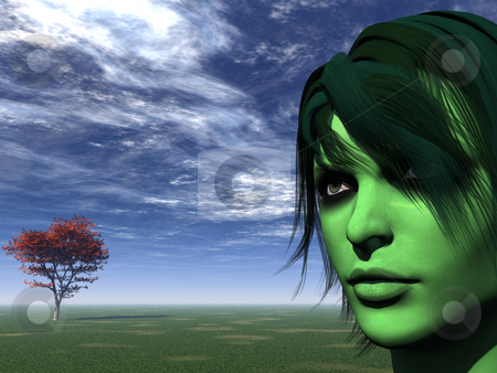 Green face stock photo, Portrait of woman with green face and tree - 3d illustration by J?
