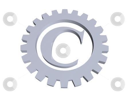 Copyright stock photo, Copyright symbol in gear wheel - 3d illustration by J?