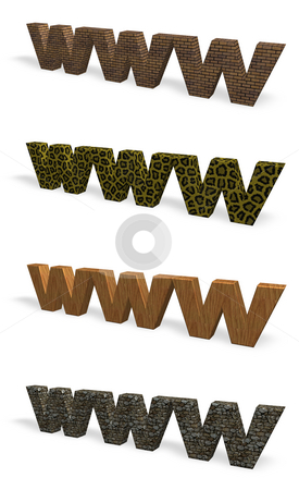 Www stock photo, Www 3d letters with various textures - 3d illustration by J?