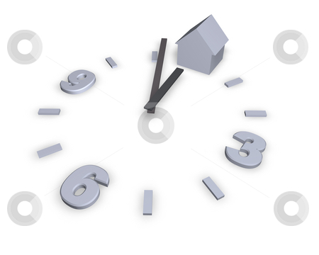 Time stock photo, Clock and house on white background - 3d illustration by J?
