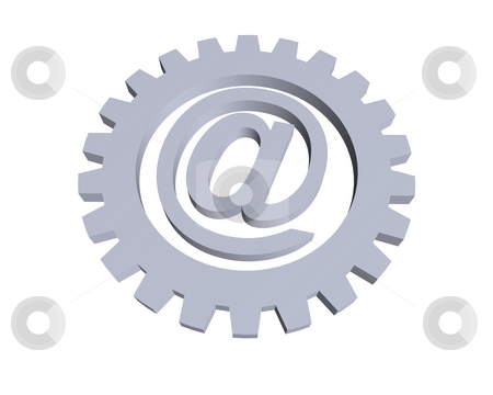 Email stock photo, Email alias and gear wheel - 3d illustration by J?