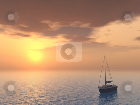 Boat stock photo, A yacht in the sunset - 3d illustration by J?