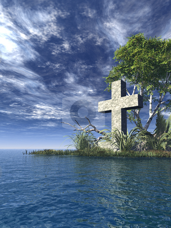 Holy cross stock photo, Stone cross at water landscape - 3d illustration by J?