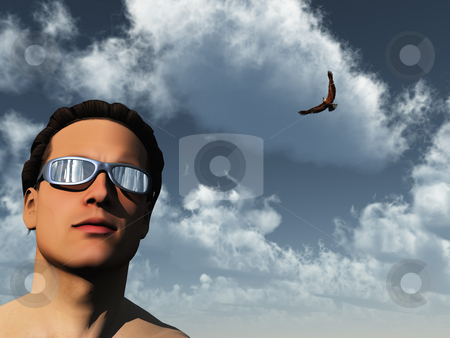 Man and eagle stock photo, Portrait of man and eagle - 3d illustration by J?