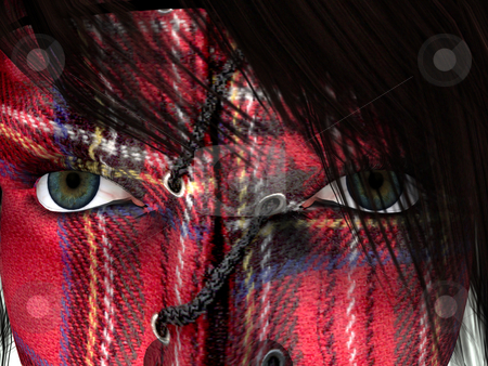 Karo face stock photo, Woman face with karo texture - 3d illustration by J?