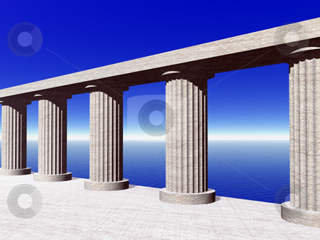 Pillars stock photo, Old pillars at the ocean - 3d illustration by J?