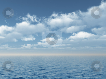 Ocean stock photo, Water landscape with cloudy sky - 3d illustration by J?