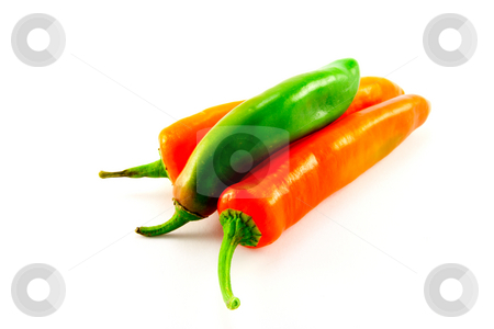 Three Chillis stock photo, One green and two red chillis with clipping path on a white background by Keith Wilson