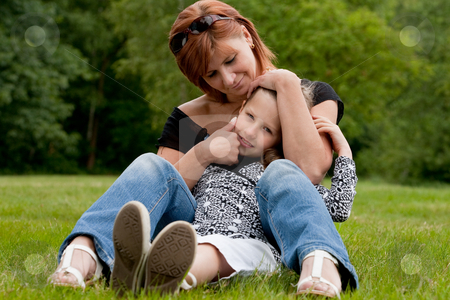 My sweet child stock photo, Mother and Daughter are happy in the park by Frenk and Danielle Kaufmann