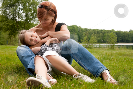 Mother and daugther love stock photo, Mother and Daughter are happy in the park by Frenk and Danielle Kaufmann