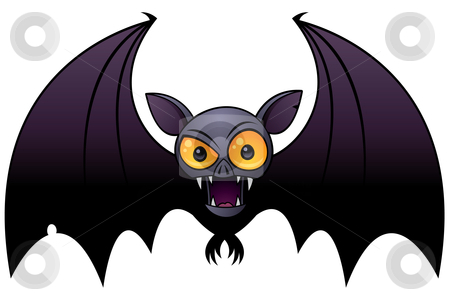 Halloween Vampire Bat stock vector clipart, Vector cartoon illustration of a Halloween Vampire Bat with big orange eyes. by John Schwegel
