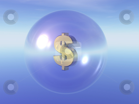 Dollar stock photo, Dollar symbol in a transparent ball - 3d illustration by J?
