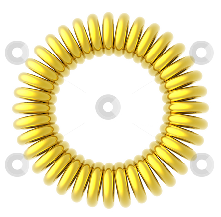 Golden rings stock photo, Golden circle on white background - 3d illustration by J?