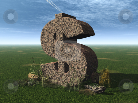 Dollar rock stock photo, Dollar rock on a green field - 3d illustration by J?
