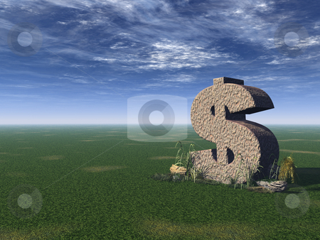 Dollar sign stock photo, Dollar rock on a green field - 3d illustration by J?