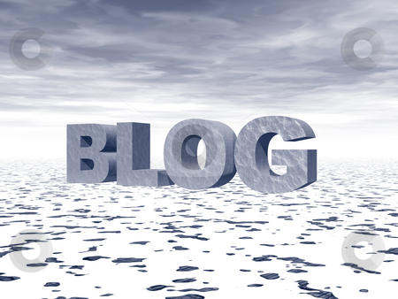 Blog stock photo, The word blog in big 3d letters in a snow landscape by J?