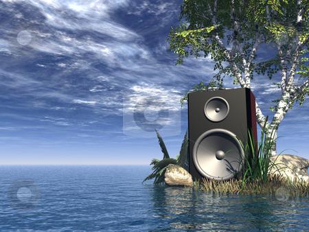 Sound stock photo, Loudspeaker at the ocean - 3d illustration by J?