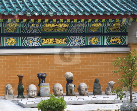 Dragon Wall Details Stone Buddhas Wong Tai Sin  Taoist Temple Ko stock photo, Golden Dragon Wall Stone Buddhas Wong Tai Sin Buddhist Taoist Temple Kowloon Hong Kong by William Perry