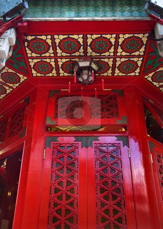 Red Window Wong Tai Sin Taoist Temple Kowloon Hong Kong stock photo, Red Window Small Lantern Wong Tai Sin Taoist