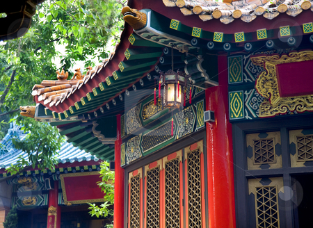 Ancient Roofs Pavilions Lantern Wong Tai Sin Good Fortune Taoist stock photo, Ancient Roofs Red Pavilions Small Lantern Wong Tai Sin Good Fortune Taoist Temple Kowloon Hong Kong by William Perry