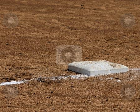 1st Base stock photo, Ist base on a softball diamond. by W. Paul Thomas