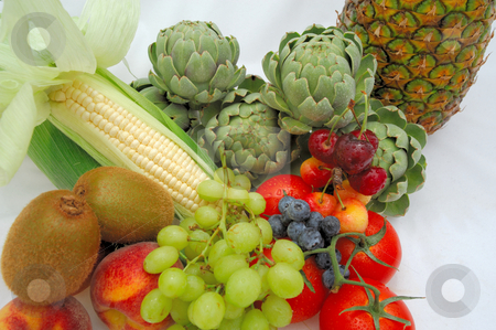 Healthy Food stock photo, Assortment of fruits and vegetables are part of a healthy lifestyle. These include Artichoke, tomatoes, fresh corn, grapes, blueberry, cherries, Kiwi fruit and peaches. by Lynn Bendickson