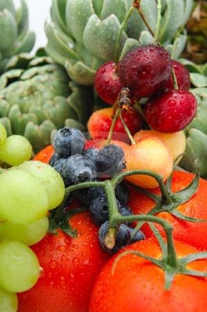 Fruit and Vegetables stock photo, Freshly rinsed in season fruit and vegetables with Artichokes, tomato, blueberries, Bing Cherries and Rainier Cherry. by Lynn Bendickson