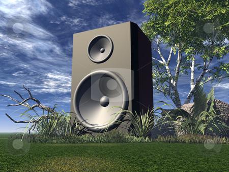Loud stock photo, Big speaker on green field - 3d illustration by J?