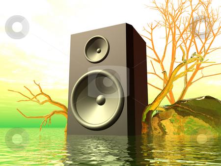 Psychedelic stock photo, Loudspaeker in a strange landscape - 3d illustration by J?