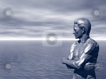 View stock photo, Statue of a man is watching over the ocean - 3d illustration by J?