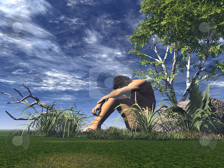 Alone stock photo, Lonely man on a green field - 3d illustration by J?
